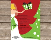 Christmas Shower Invitation Wedding Bride Present Tree Love Marriage Party Print Digital Printable
