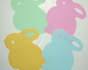 "Die cut bunny rabbits, pastel colors, 10 of each color, 4"" x 3.5"""