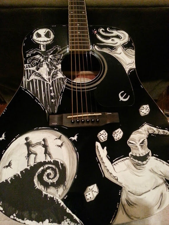 Items similar to Nightmare Before Christmas Inspired Guitar ft. Jack ...