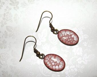 Metallic Powder Puff Pink Marble Charm Earrings