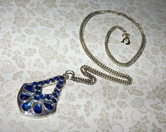 Retro Sapphire Crystals Mosaic Necklace