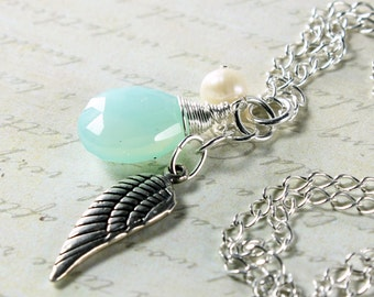 Peruvian Chalcedony Necklace, Sterling Silver, Angel Wing charm, sky blue gemstone, white freshwater pearl, fine necklace, gift for her