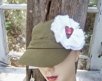Shabby Woman's Cap, Upcycled Teen Hat, Golf Hat, Embellished Baseball Cap, Country Western Hat