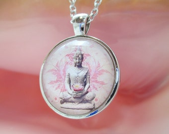 Glass Cabochon Buddha Lotus Necklace
