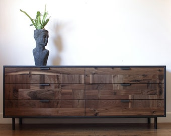 Walnut Patchwork Dresser in Blackened Steel Cabinet