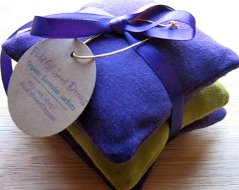 Organic French Lavender Sachets made from Cotton Sleep Relaxation or Drawer Sachets