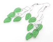 Green Twig Earrings,  Green Leaf Earrings,  Green Dangle Earrings, Woodland Wedding Jewelry,  Winter Jewelry, Gift for Her,