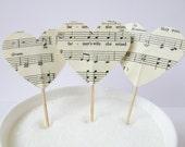 12 x Vintage Choral Sheet Music Heart Cupcake Topper - Cupcake Pick