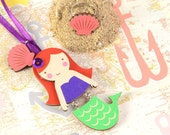 Mintapalinta POP 'The Little Mermaid' Wooden Pendant, Mermaid & Shell Necklace, Kids' Jewelry, Unique Designed Girls' Jewelry, Free Shipping