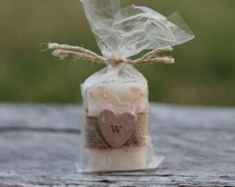 Wedding Favor Soap-Bridal-Baby-Showers-Burlap-Rustic-Wood Heart- Belle Savon Vermont