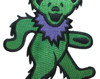 Grateful Dead Larger Green Dancing Bear Rock Band Icon Iron On Applique Patch