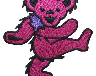 Grateful Dead Larger Pink Dancing Bear Rock Band Icon Iron On Applique Patch