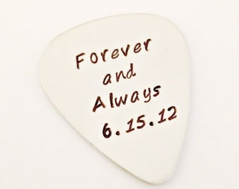 Personalized Guitar Pick - Forever & Always with Anniversary Date - Custom Nickel Silver Mens Wedding Couples Bridal Party Gift Idea for Him