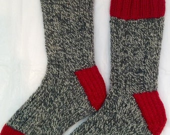 Hand Knit Mens SMALL or Womens MEDIUM 100% Wool Heavy Boot, Hiking, Skiing, Snowboarding Socks (B-049)