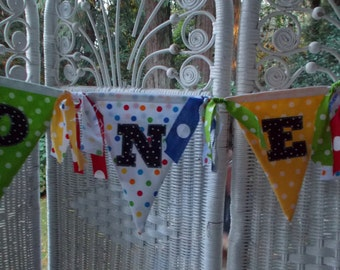 First Birthday Banner- ONE, primary colors