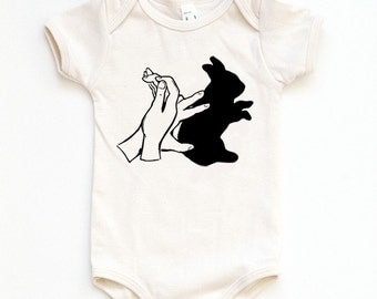 Shadow Puppet - Rabbit - Organic One-piece - Bunny - Baby bunny rabbit - Romper