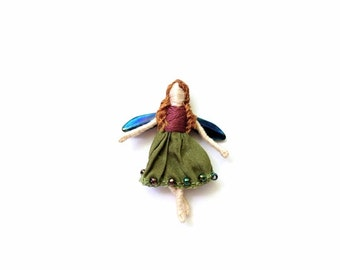Miniature Blossom Fairy - Worrydoll pin, pendant, ornament, or for display