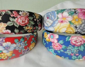 Vintage 90's Floral Headbands ~ 90's Style ~  Grunge ~ Baby Doll ~ Vintage Hair Clip ~ Floral Headband ~ Wide Headband