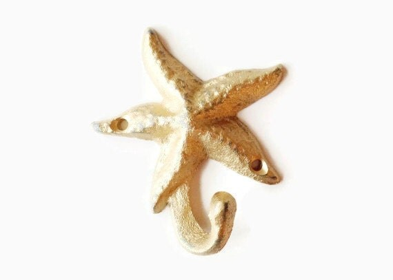 Gold Starfish Wall Decor : Gold starfish decor seashell coat hook by juxtapositionsc