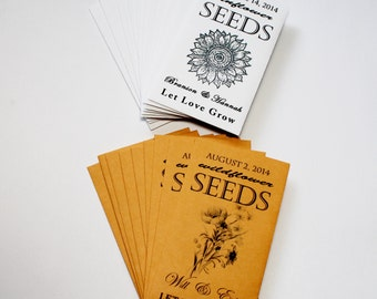 Rustic Wedding Favors, Sunflower Seeds, Seed Packets, Seed Packet Favors, Summer Wedding, Baby Shower Favors, Bridal Shower Favor 13-25 sets