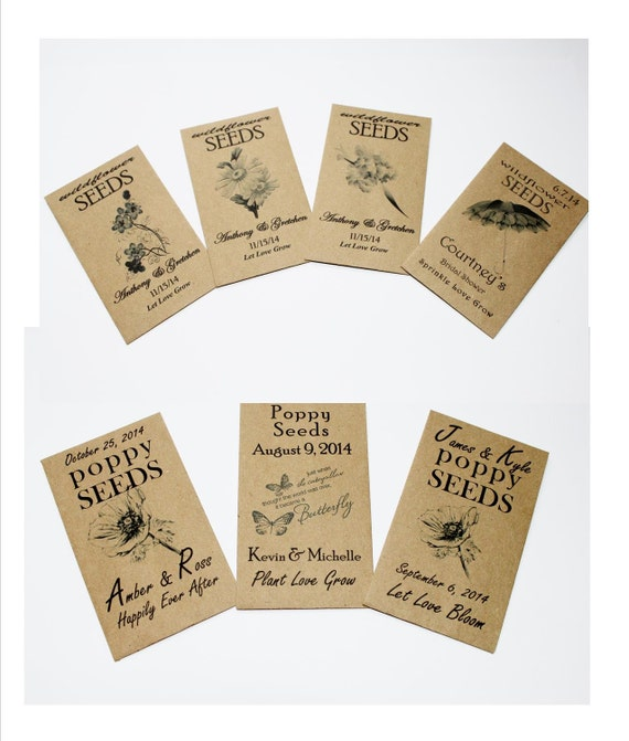 These adorable rustic memorable coin-size envelope favors