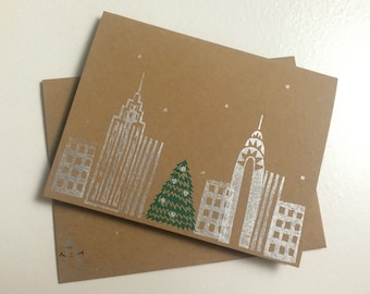 Handmade NYC Holiday Cards / Stationery (set of 5)