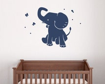 Unique elephant wall decal related items etsy - Stickers elephant chambre bebe ...