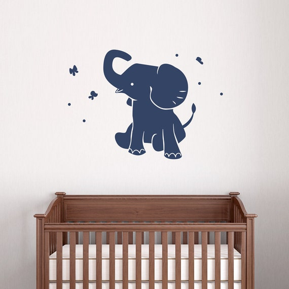 Baby elephant wall decal vinyl decal sticker elephant wall for Room decor 5d stickers