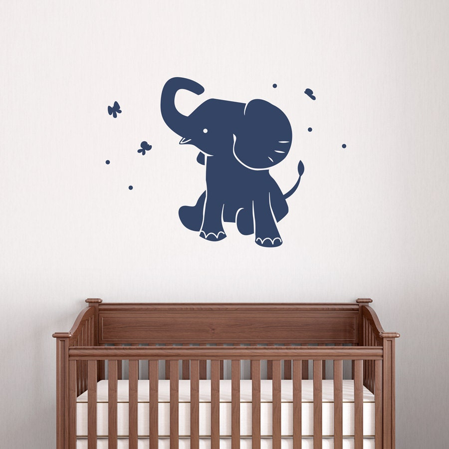 Baby elephant wall decal vinyl decal sticker elephant wall for Elephant wall mural
