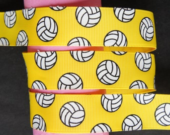 "10Yd Volleyball 7/8"" Yellow Grosgrain Ribbon"