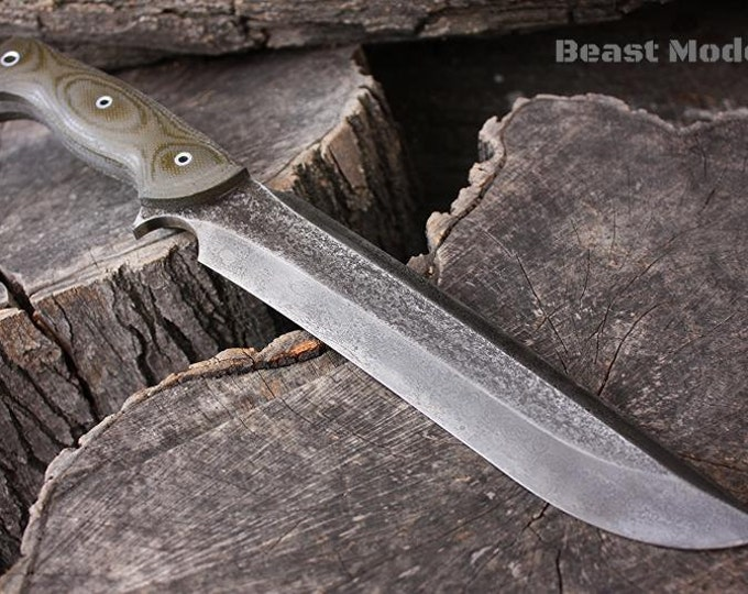 """Handcrafted FOF """"Beastmode"""" Custom Full Tang Recurved Survival and Hunting knife"""