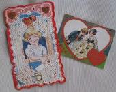 2 Sweet Antique Valentine Cards - Vintage Paper Ephemera, Supplies - Art Deco Lace