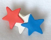 Polymer Clay Novelty Pin/Brooch - Red, White and Blue Stars