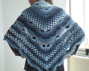blue Crochet shawl scarves scarf accessories  crochet shawl accessories gift for her