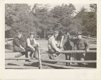Barn Date Angst - Vintage 1940s Girls, Guys and Horse Silver Gelatin Photograph