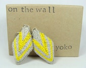 Gray and Yellow diamond shape earrings - Hand Embroidery, 1.5 inch, very light weight