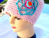 SALE---WOMENS CROCHET Hat -crochet flower hat -ladies pink hat -teens flower hat