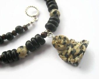 Dalmation Jasper Buddha Necklace, Happy Buddha Beaded Necklace, Tribal Necklace, Coconut Jewelry, Chakra Necklace, READY To SHIP
