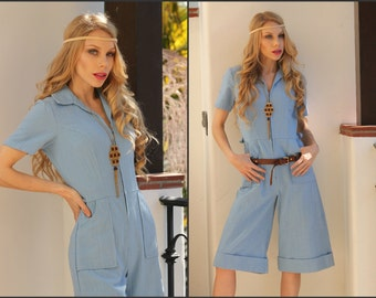 Vtg Vintage 70s Jumpsuit Culottes Boho Hippie Festival pants suit XS S