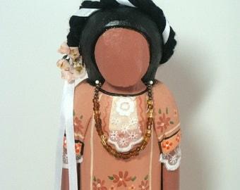 Oaxaca Mexican Indian Hispanic Native American faceless art doll wood carving Ooak folk collectible