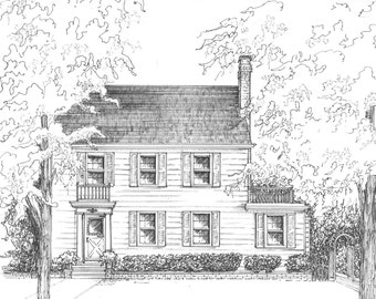"House Drawn in Ink - 5""x 7""  House drawn from photo  - custom artwork - commissioned house portrait in ink"