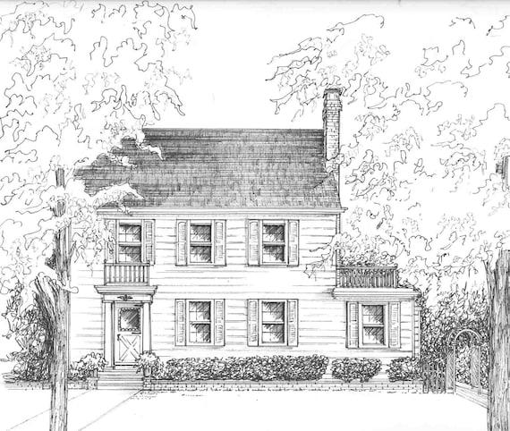 Haus gezogen in tinte 5 x 7 haus gezeichnet von for Modernes haus gezeichnet