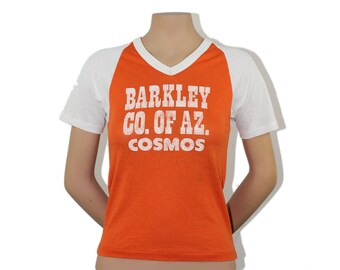 Cosmos Raglan - Basketball Jersey Orange TShirt Barkley AZ Arizona T-Shirt Athletic Jersey Shirt 1970s 70 Dodger Tee Number 8 Top Graphic S