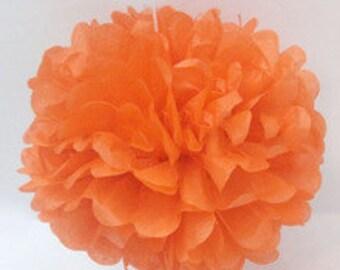"8"" Orange Tissue Paper Pom Poms- Small Paper Flower  Pom- Wedding Decoartion- Baby Shower- Bridal Decor- Hanging Room Paper Pom- Halloween"