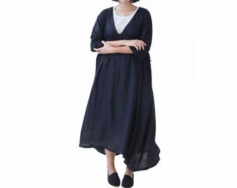 Woman Dresses Linen Dress Long Dress Loose Dress Day Dress Sheer Dress High-waist Dress