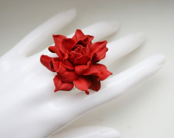 Red leather rose flower ring