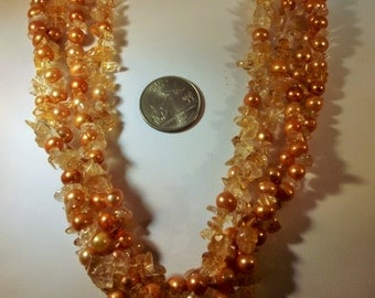 Necklace Handmade Pearls Citrine Gold with solid Sterling Thick Clasp Roll for Torsade Choker or Necklace Exotic Forest to Runway Statement