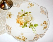 Rare Old Ivory 1900s German French Country Arts & Crafts Yellow Rose Art Nouveau Signed Silesia Ohme Porcelain Cake Serving Plate W/ Handles