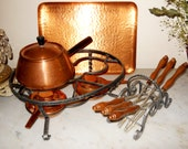 Vintage Double Burner Large Mid Century Danish Modern German Swiss Copper Fondue Set Cheese Dip Hors D Oeuvres Serving Party Tray Set
