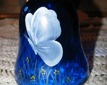 FREE USA Ship Fenton Art Glass BUTTERFLY Bell Colbalt w/ Mary Gregory Style Beautiful